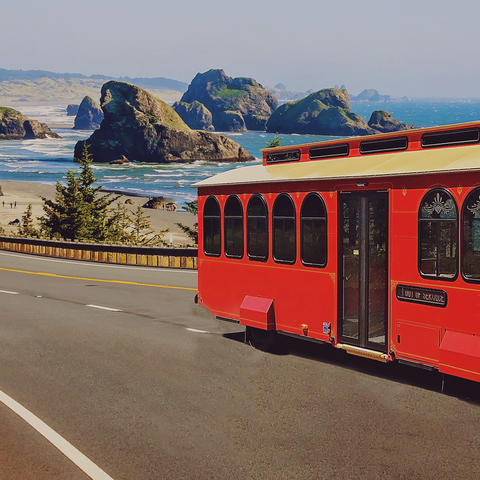 hometown trolley bus on coastal shores